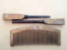 Vintage Japanese maki-e kogai kanzashi and kushi comb set w/ butterfly & flower design- gold, shell inlay from Etsy