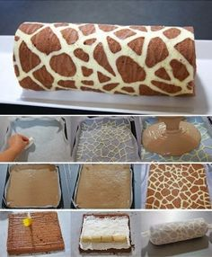 Wonderful DIY Swiss Roll Cake With Giraffe Pattern Be honest – this is the first time you've ever seen a giraffe pattern on a cake, right? This Swiss Roll looks like the kind of confectionery masterpiece Cake Roll Recipes, Dessert Recipes, Desserts Diy, Health Desserts, Food Cakes, Cupcake Cakes, Swiss Roll Cakes, Swiss Cake, Giraffe Cakes