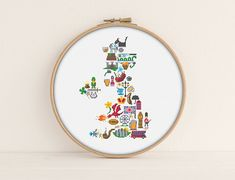 UK map Cross stitch pattern Stitch the complete icon map for the United Kingdoms. Red Dragon for Wales, four leaf clover for Ireland, Loch Ness Monster for Scotland and many more geographically correct cross stitch pop culture icons can you spot them all? Also, super satisfying because