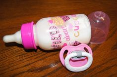 "5oz Faux Fake Formula Milk Bottle & Pacifier For Reborn or Baby Doll ""Cupcakes"""