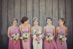 pink bridesmaid dresses, love the style just wish they were purple!