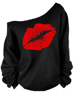 Women's+Going+out+Sexy+/+Street+chic+T-shirt,Print+One+Shoulder+Long+Sleeve+Red+/+White+Cotton+Medium+–+AUD+$+16.72