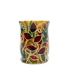In The Forest Hand Painted Candle Holder by SylwiaGlassArt on Etsy, $69.00