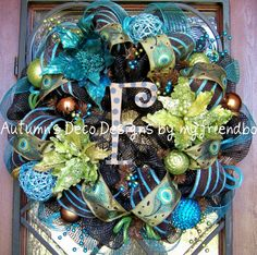 Fall Christmas Lime Turquoise Deco Mesh Wreath