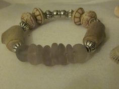 Lilac Seaglass &  Driftwood Bracelet by PANAMASEAGLASS on Etsy, $45.00