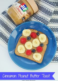 Need a breakfast hack? Try 3 minute Cinnamon Peanut Butter toast with fresh fruit. Simply toast a slice of bread, spread some yummy Jif cinnamon peanut butter and then top with your favorite fruit. Your kids can have fun and make designs with their toast.