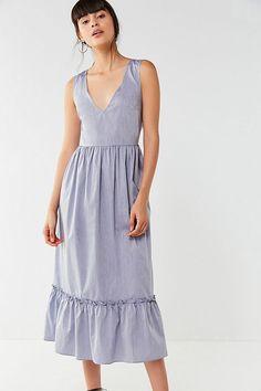 UO V-Neck Tiered Midi Dress