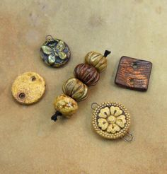 Set of Assorted Ceramic Jewelry Components by earthenwood on Etsy, $15.00
