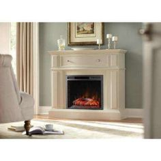 Ludlow 44 in. Media Console Electric Fireplace in Bleached Linen