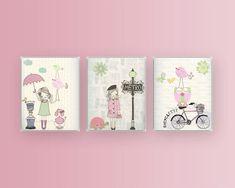 Nursery art, Baby room decor, Baby girl nursery wall art, Paris Metro. set of 3 8x10 shabby chic, vintage style nursery . pink light green. $50.00, via Etsy.