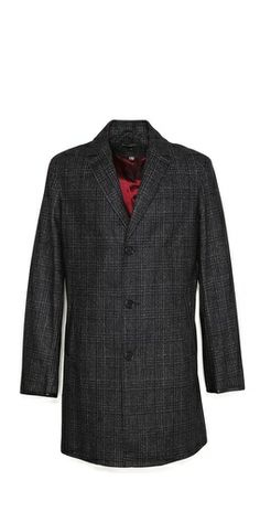 John Varvatos Star USA Topcoat with Leather Trim Topcoat, John Varvatos, Coats, Blazer, Star, Leather, Jackets, Fashion, Down Jackets