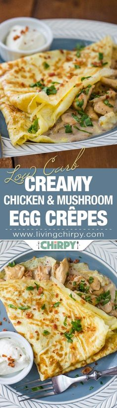 Low-Carb Creamy Chicken and Mushroom Egg Crepe - a deliciously healthy breakfast made with just 6 ingredients!