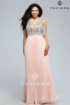 Faviana 9388 is a long plus size chiffon prom gown with fully beaded bodice and V neckline.