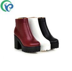 Pas cher 2015 cheville d'hiver botas de haute qualité martin bottes moyen ( b, M ) avec haute et talon carré femmes shose bout rond pu femmes bottes, Acheter  Bottes pour femmes de qualité directement des fournisseurs de Chine: