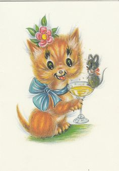 Vintage 1970s Happy Birthday Greeting Card ~ Champagne Party Ginger Cat Mouse FOR SALE • £2.89 • See Photos! Money Back Guarantee. Original from the 1970's - This comes from leftover stock from my Family's Greeting Card Wholesalers.They Don't make them like this anymore! Happy Birthday Wishes Greeting Card With Envelope.I have 282448130912