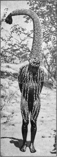 Emu man performs The Totem. With a head-dress representing the sacred totem of his group, this man is working magic that is to make emus abundant for the hunters of his tribe