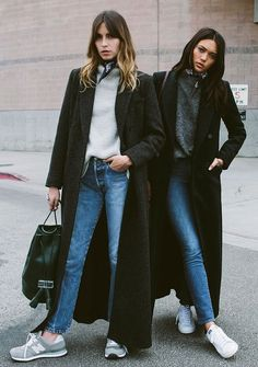 Long oversized coat, sweater, jeans and sneakers for winter