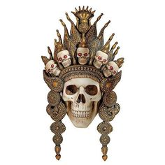 Balinese God of the After Life Sculptural Skull Wall Mask - - Design Toscano Wall Sculptures, Sculpture Art, Halloween Skull Mask, Link Halloween, Crane, After Life, Wooden Wall Art, Wooden Decor, Masks For Sale