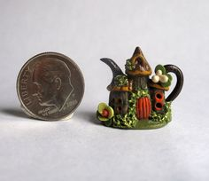 Handmade Miniature WOODLAND FAIRY FOREST HOUSE TEAPOT -  OOAK C. Rohal #CRohal