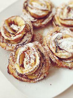 Apple Roses • Apple Flowers • Icing Sugar Apple Flowers, Apple Roses, Icing, Sugar, Cakes, Creative Cakes, Pastries, Torte, Cookies