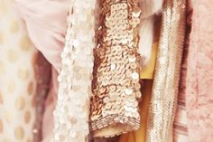 peach hues of sequins and fabric