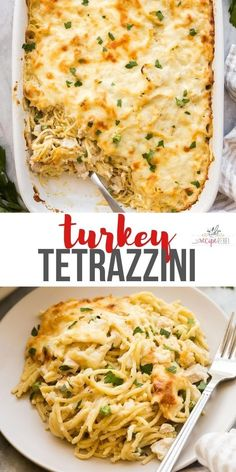 This Turkey Tetrazzini is a creamy baked pasta with a homemade sauce, shredded turkey, spaghetti and a golden cheesy crust! Make ahead and freezer friendly! #turkey #pasta #dinner #recipes | easy dinner ideas | casserole recipe| make ahead meal | freezer meal | freezer friendly leftover turkey | turkey recipes Duck Recipes, Turkey Recipes, Meat Recipes, Cooking Recipes, Healthy Recipes, Dinner Recipes, Turkey Dishes, Noodle Recipes, Cooking Time