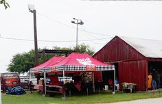 The Rib Crib booth is set up for action in the Barn Courtyard at the Civil War Ranch in Carthage, MO.