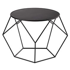 Metal round coffee table in black D 64cm