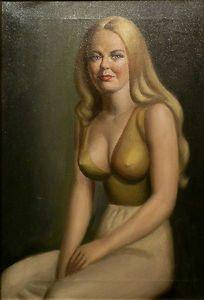 Striking, risque 70's oil on canvas portrait by female artist, on Ebay. Current high bid $78. 5 days to compete. http://bit.ly/zDzguV
