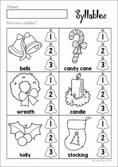 Christmas Preschool No Prep Worksheets and Activities. How many syllables? Pre K Worksheets, Christmas Worksheets, Kindergarten Worksheets, Syllables Kindergarten, Kindergarten Prep, Preschool Plans, Preschool Literacy, Learning Centers, Literacy Centers