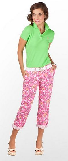 Pink floral pants and green shirt - cute Spring women's fashion.