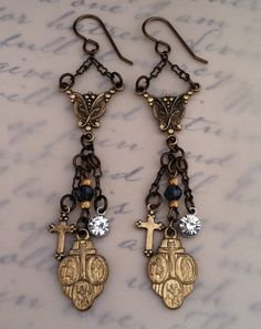 Religious Medal Earrings by simplystellanv on Etsy, $32.00
