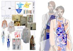 "Fashion Design Development - geometric fashion exploring the use of folds & asymmetric patterns - fashion sketchbook illustrations & prototyping // ""Triangulation,"" Bryony Carrigan"