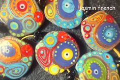 jasmin french ' color the grey ' lampwork focal beads glass art