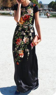 Women's fashion   Floral maxi dress, thin belt, clutch