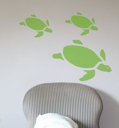 Sea Turtle vinyl wall decal set for nautical by HouseHoldWords, $19.00