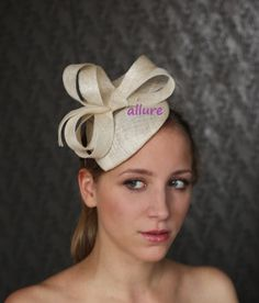 ivory wedding fascinator, kentucky derby hat, coctail hat, ivory wedding headpiece, ivory fashion hat