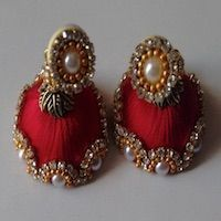 Jewellery | Silk Thread | Red Jhumka - Large | CardsNCrafts