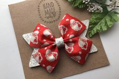 Christmas Hair Bows, White Christmas, Santa Christmas, Glitter Hair, White Glitter, Halloween Hair Clips, Denim Hair, Pink Hair Bows, Visit Santa
