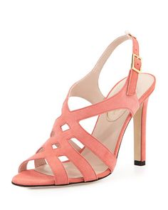 SJP by Sarah Jessica Parker Georgie Strappy Suede Sandal, Coral- great color!