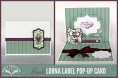 Karen Burniston as I am not Left Handed with a Lorna label pop-up card; June 2014