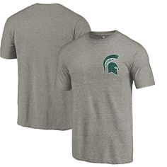 Michigan State Spartans Fanatics Branded Left Chest Distressed Logo Tri-Blend T-Shirt - Gray