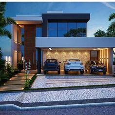Pin on Casas modernas - Vidro Pin on Casas modernas - Vidro Modern Villa Design, House Front Design, Luxury Homes Dream Houses, Dream House Exterior, Modern House Plans, Facade House, Home Fashion, Exterior Design, Future House