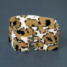 Leopard ... Peyote Bracelet . Cuff . Africa Inspired by time2cre8