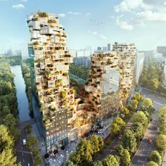 MVRDV first unveiled its design for this mixed-use high-rise in Amsterdam back in 2015, and it is finally due to open in 2021. Cabinet D Architecture, Green Architecture, Biophilic Architecture, Innovative Architecture, Architecture Awards, Architecture Design, Mix Use Building, Green Building, Model Building