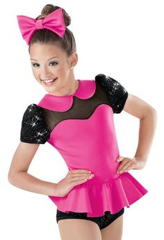 """Hot Pink Stretch Neoprene Bodice, Peplum Skirt, Peter Pan Collar, and Bow with Black Sequined Spandex and Cap Sleeves - """"Boys and Girls"""" Pop Star Costumes, Cute Dance Costumes, Jazz Costumes, Festival Costumes, Cool Costumes, Dance Outfits, Dance Dresses, Hiphop, Little Girl Costumes"""