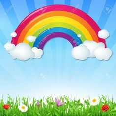 23117726-color-rainbow-with-clouds-grass-and-flowers-with-gradient-mesh-vector-illustration.jpg (1300×1300)