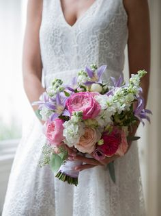 Playful summer bouquet with Constance roses.