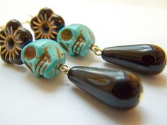 Day of the Dead Earrings  Muerta  Turquoise Sugar by polishedtwo, $11.00