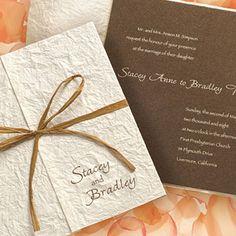modern wedding invitation with bow
